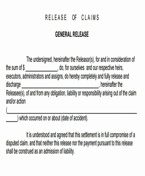 Release Of Liability form Pdf Inspirational Sample General Liability Release form 7 Examples In