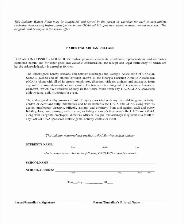 Release Of Liability form Pdf Lovely Sample Liability Waiver form 10 Examples In Word Pdf