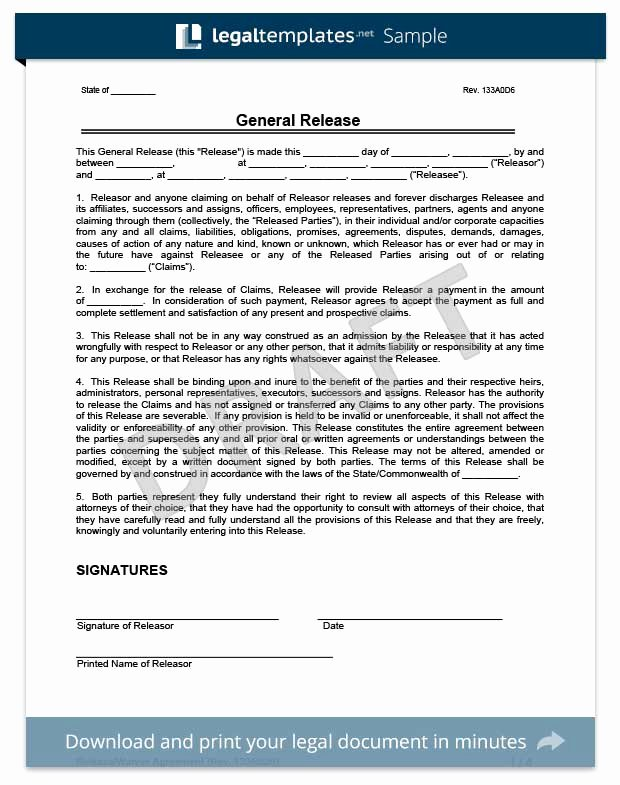 Release Of Liability form Pdf Luxury Free Release Of Liability form