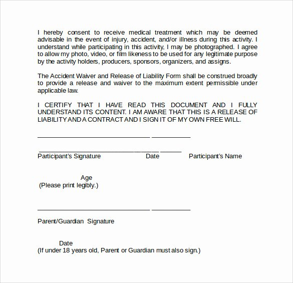 Release Of Liability form Pdf New Sample Liability Waiver form 9 Download Free Documents