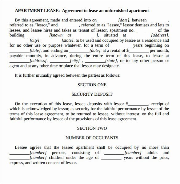 Rental Agreement Template Word Awesome Sample Apartment Rental Agreement Template 7 Free