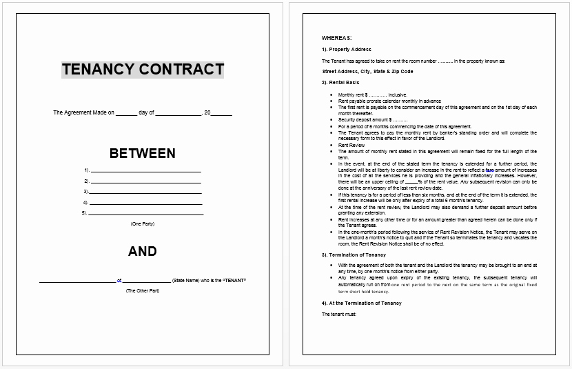 Rental Agreement Template Word Awesome Tenancy Contract Template Microsoft Word Templates