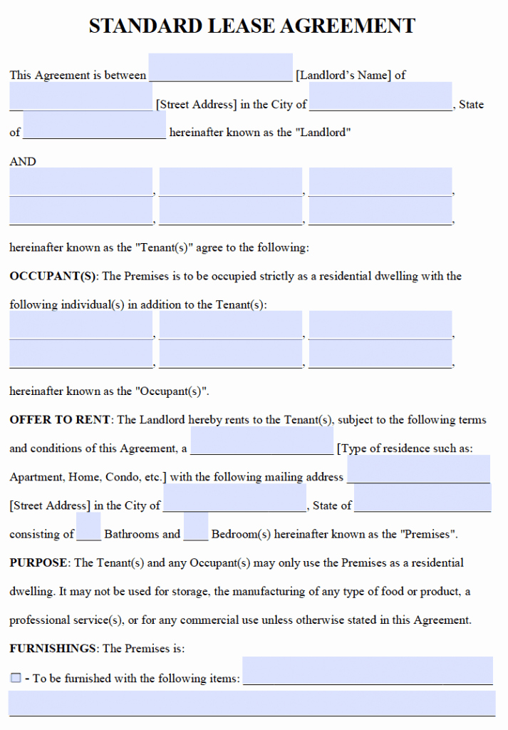 Rental Agreement Template Word Best Of Free Residential Lease Agreements – Pdf and Word Templates