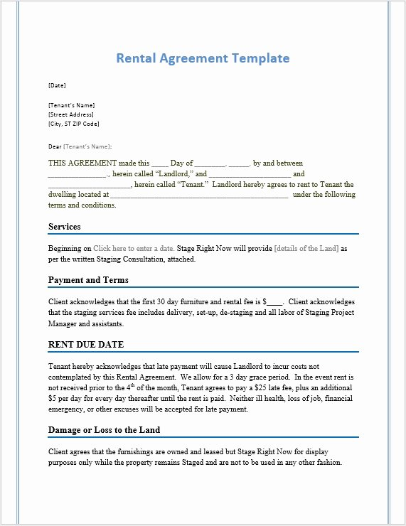 Rental Agreement Template Word Elegant Rental Agreement Template – Word Templates for Free Download