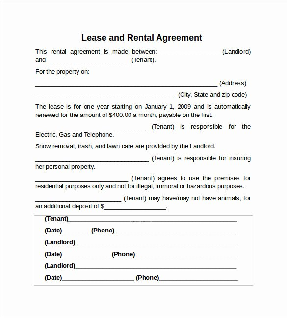 Rental Agreement Template Word Lovely Sample Rental Lease Agreement 9 Free Documents In Pdf Word