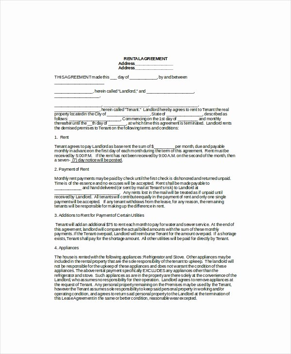 Rental Agreement Template Word New Rental Lease Template 13 Free Word Pdf Documents