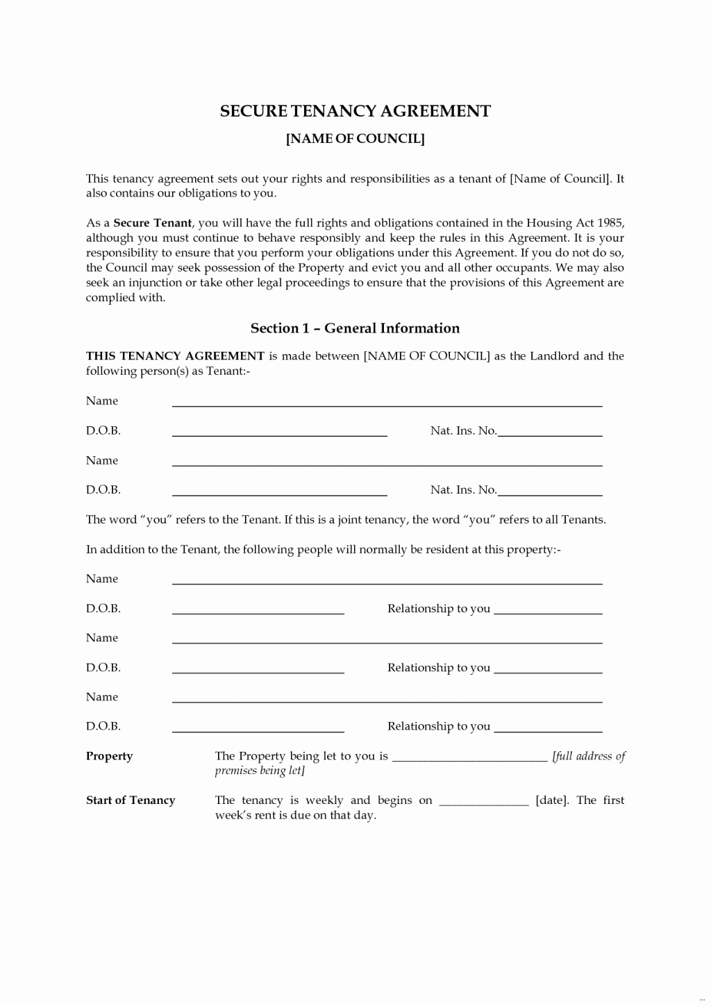 Rental Agreement Template Word New Tenancy Agreement Templates In Word format Excel Template
