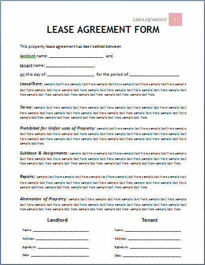 Rental Agreement Template Word Unique Lease Agreement form