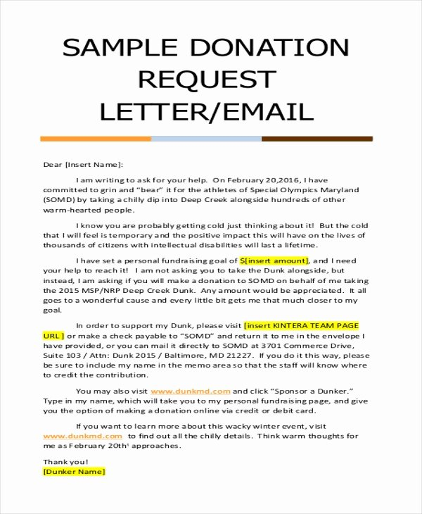 Request for Donations Letter Luxury Free 9 Donation Letter Samples In Pdf