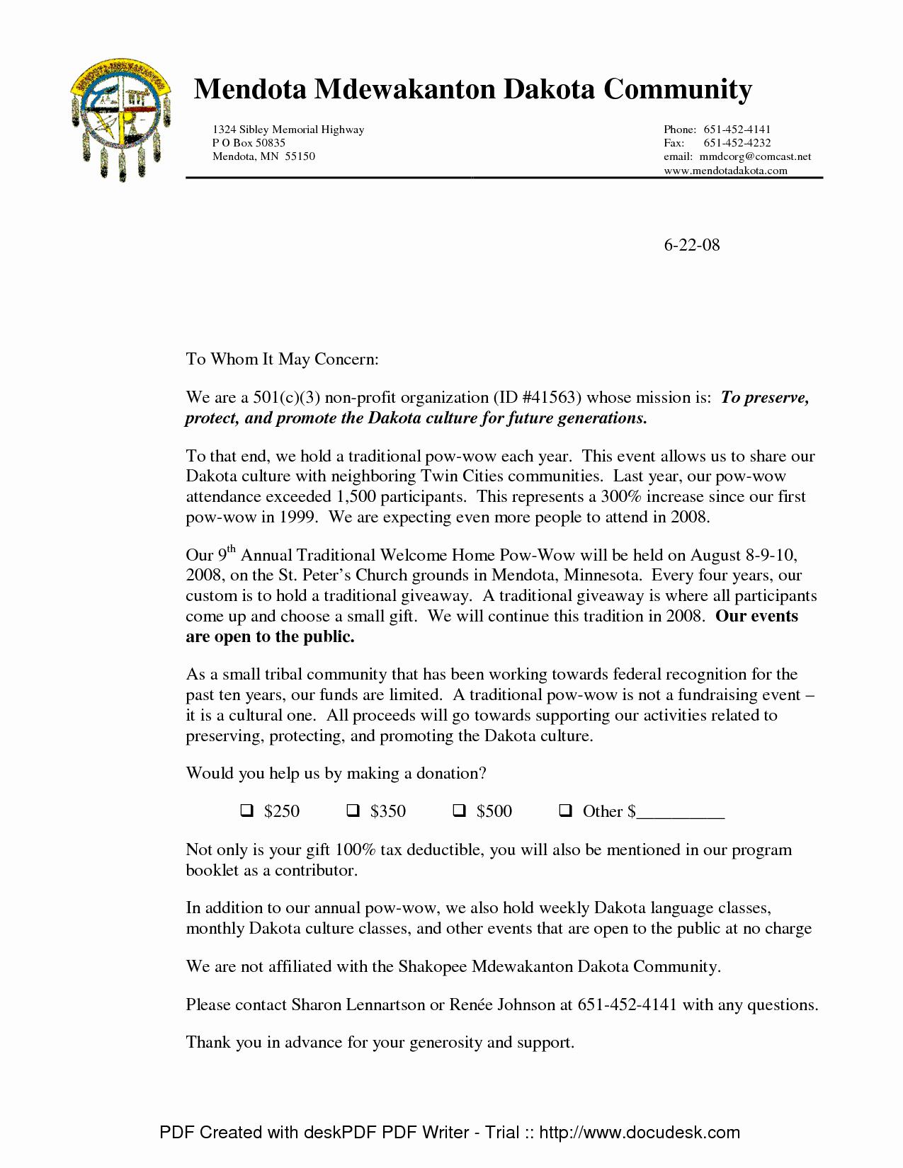 Request for Donations Letter Unique Non Profit Donation Request Letter Template