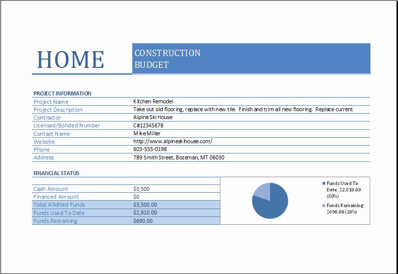 Residential Construction Budget Template Excel Elegant Home Construction Bud Worksheet for Excel