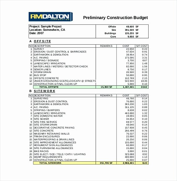 Residential Construction Budget Template Excel Fresh 13 Excel Bud Template Mac