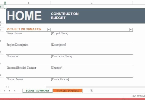 home construction bud template for excel