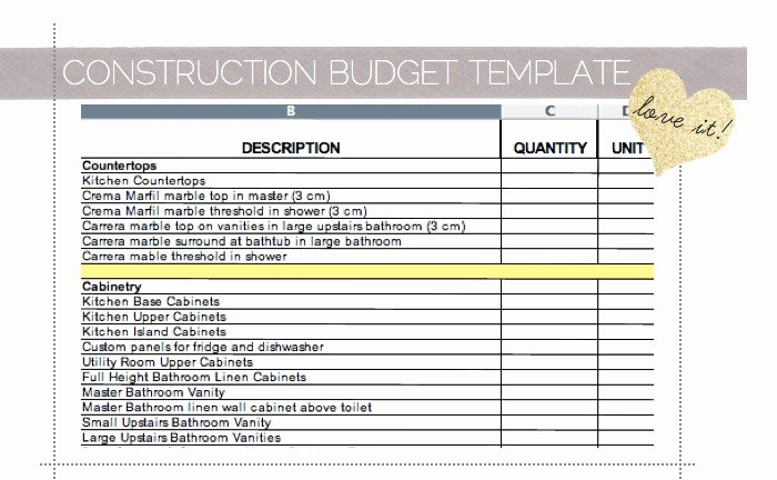 Residential Construction Budget Template Excel Unique House Construction House Construction Excel Spreadsheet
