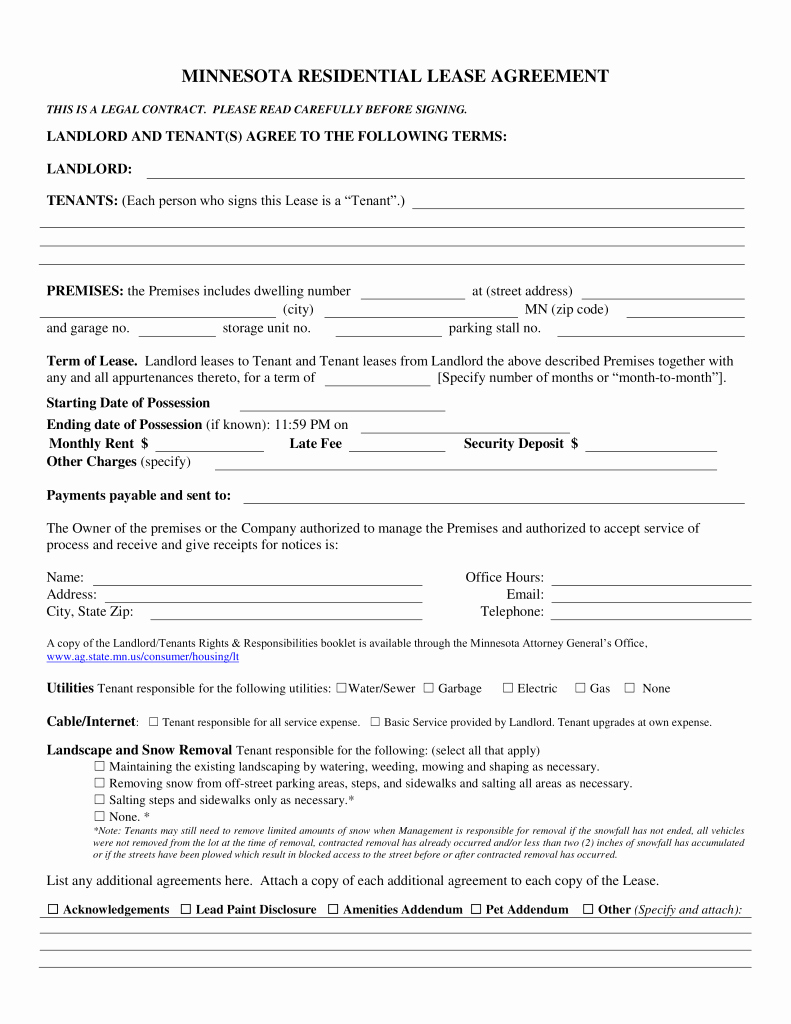 Residential Rental Agreement form Best Of Free Minnesota association Of Realtors Residential Lease
