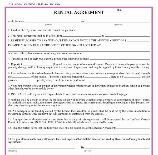 Residential Rental Agreement form Best Of Residential Lease Agreement Template