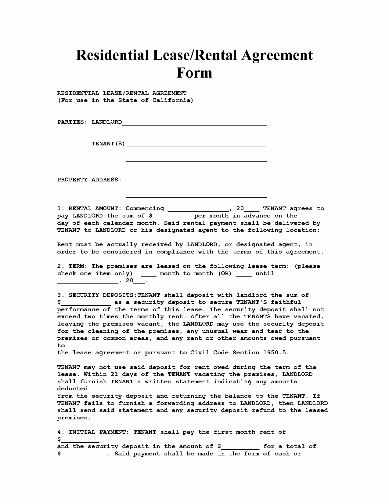 Residential Rental Agreement form Elegant California House Lease Agreement form