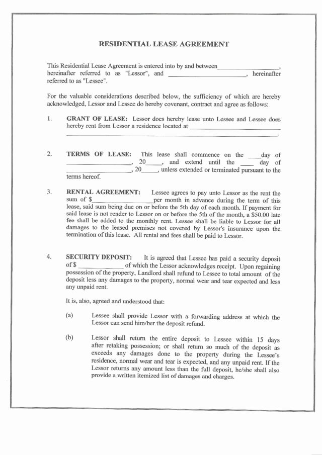 Residential Rental Agreement form Elegant Free Printable Residential Lease form Generic