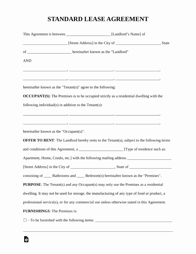 Residential Rental Agreement form Elegant Free Standard Residential Lease Agreement Template Pdf