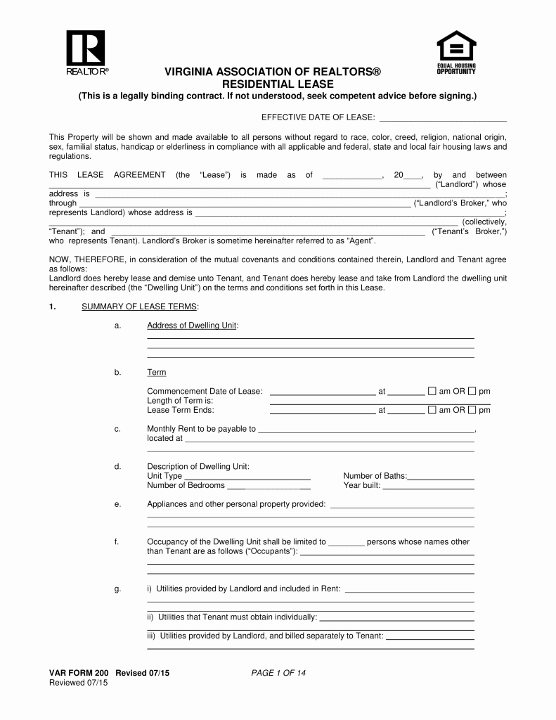 Residential Rental Agreement form Elegant Free Virginia association Of Realtors Residential Lease