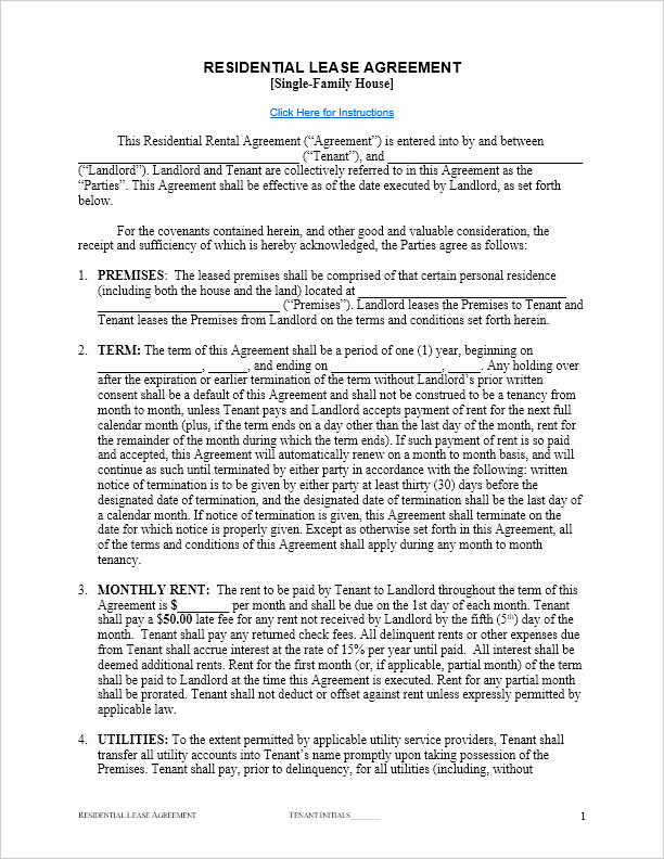Residential Rental Agreement form Fresh Free Lease Agreement Template for Word