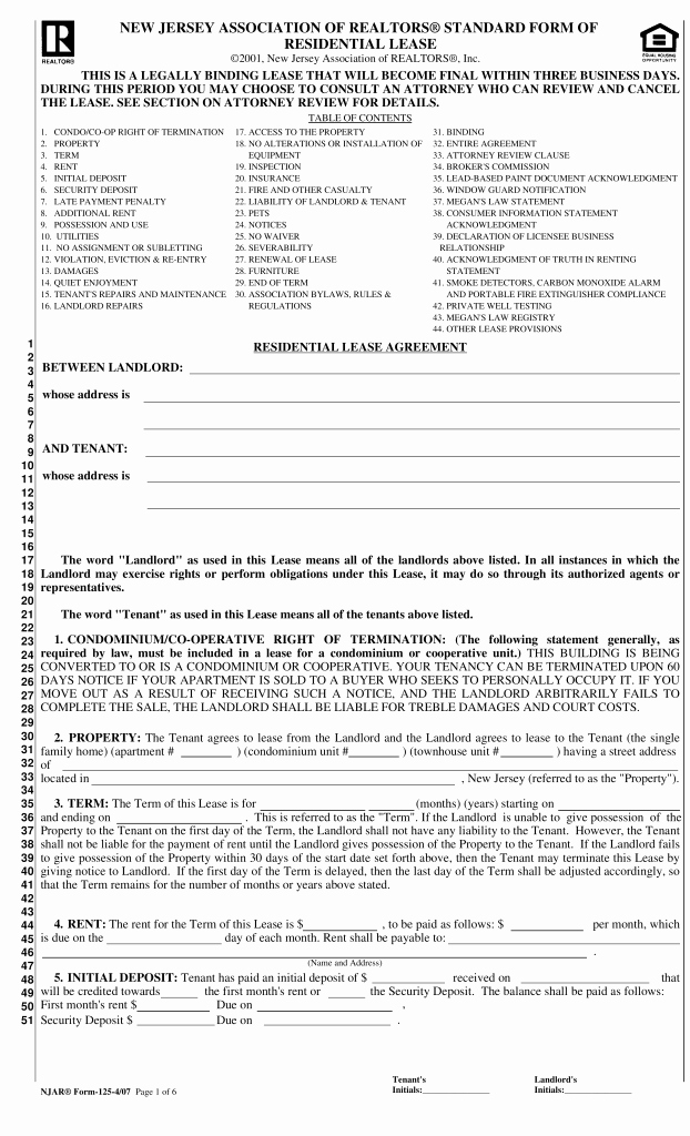 Residential Rental Agreement form Fresh Free New Jersey association Of Realtors Lease Agreement