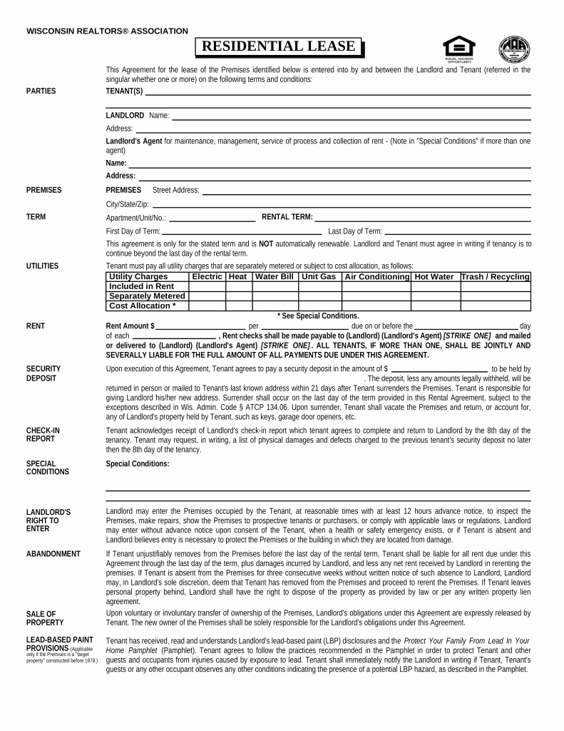 Residential Rental Agreement form Inspirational Free Wisconsin association Of Realtors Residential Lease