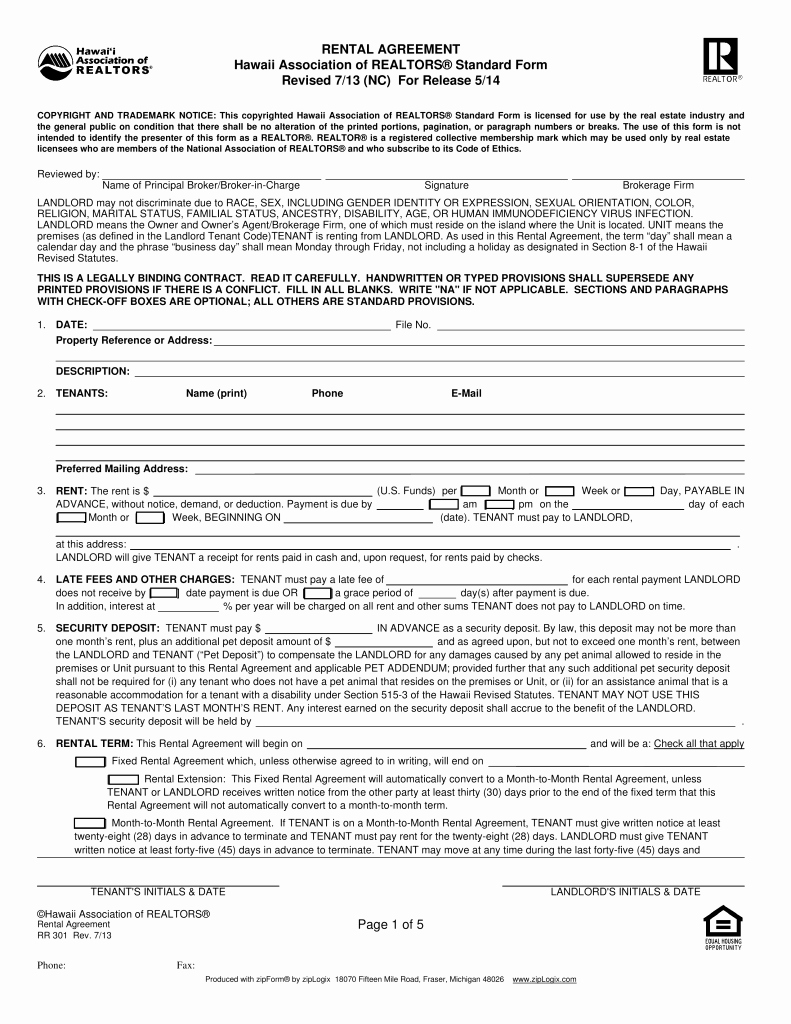 Residential Rental Agreement form Lovely Free Hawaii association Of Realtors Residential Lease
