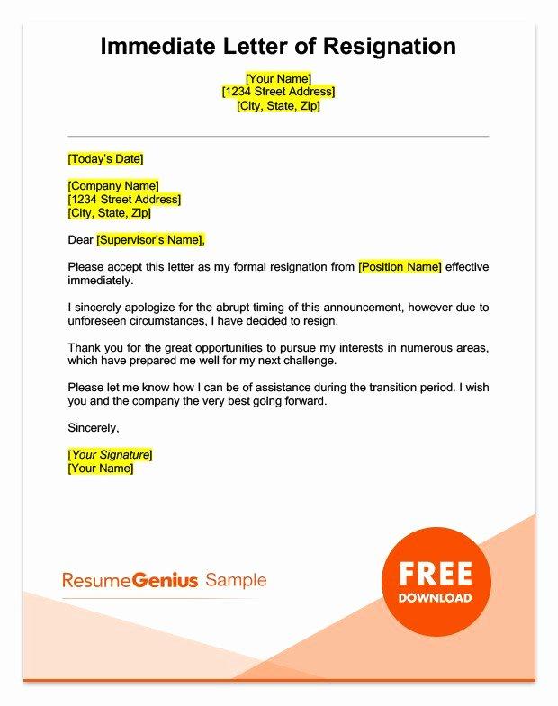 Resignation Letter Effective Immediately New Life Specific Resignation Letters Samples
