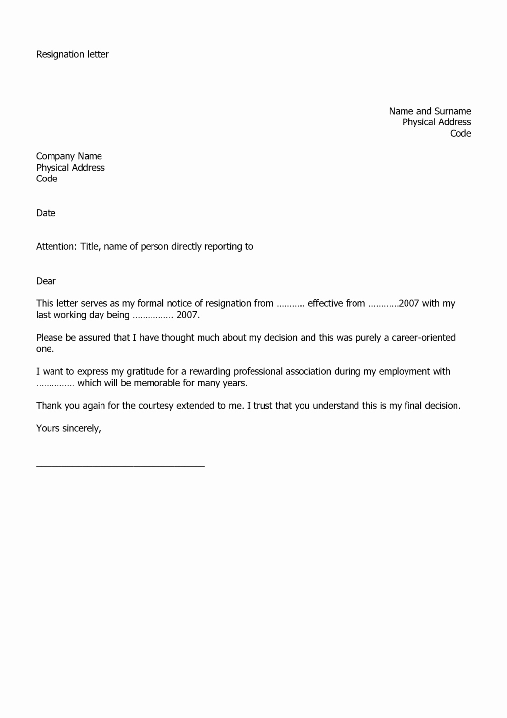 Resignation Letter Template Free Best Of Fillable and Easy to Use Employee Resignation Letter