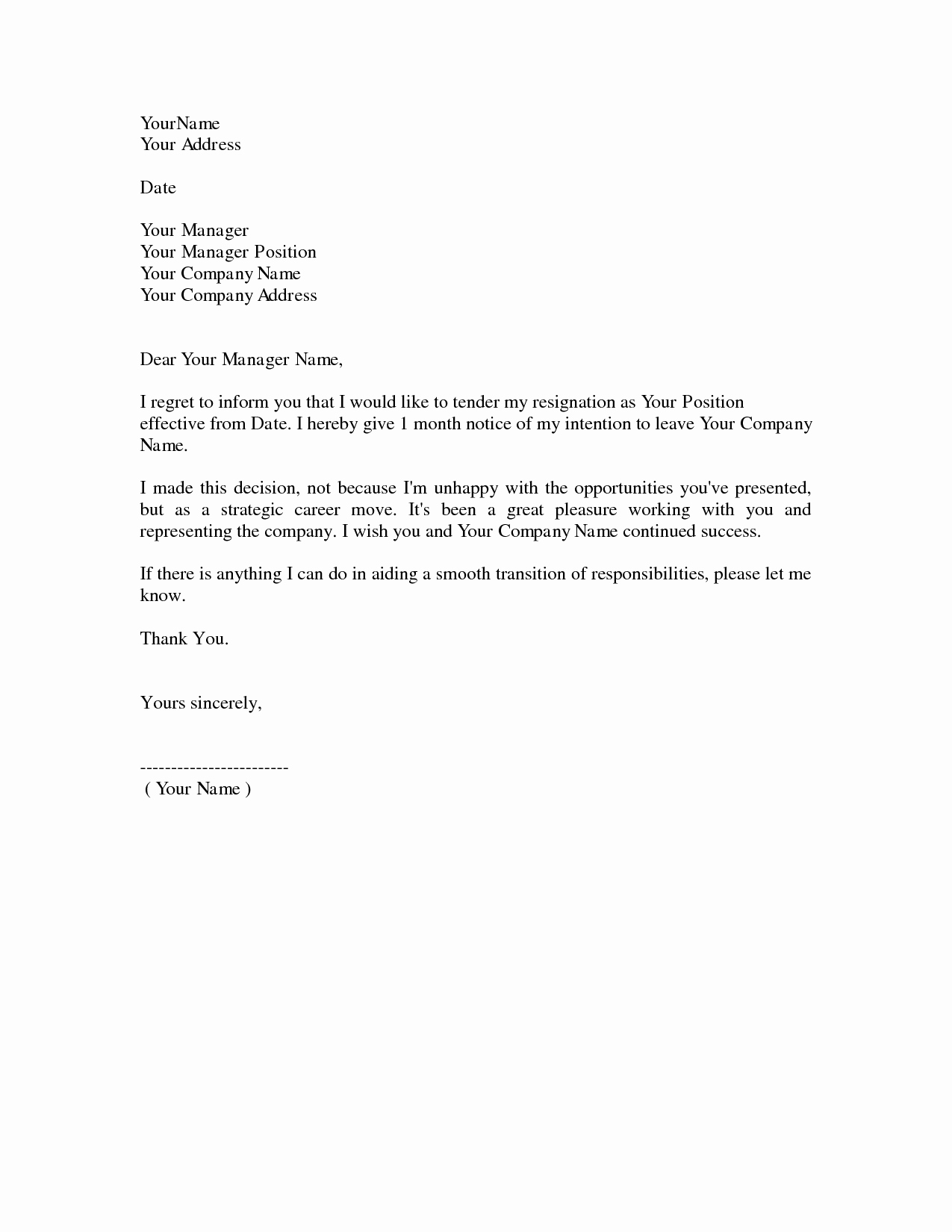 Resignation Letter Template Free Elegant Download Resignation Letters Pdf & Doc