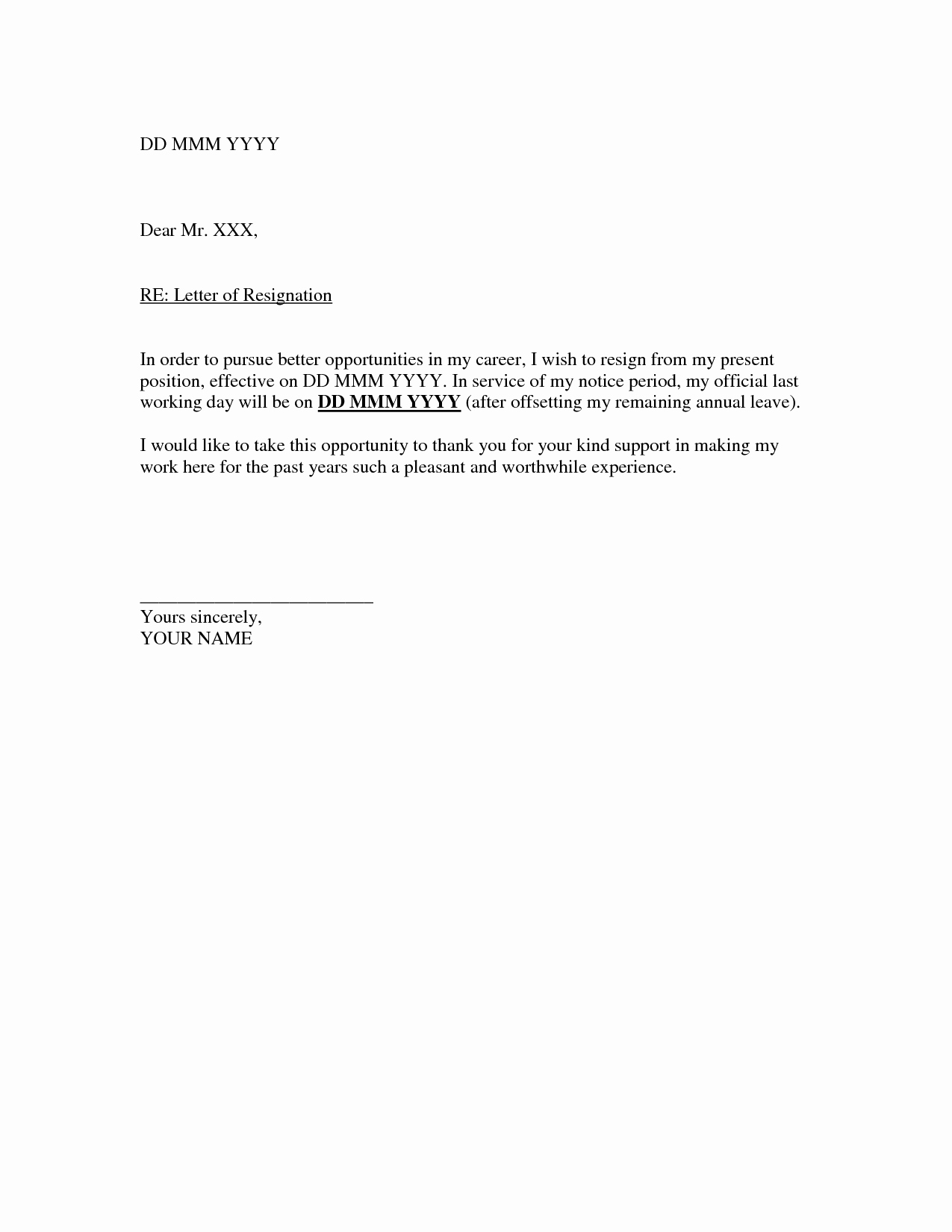 Resignation Letter Template Free Elegant Resignation Letter Template