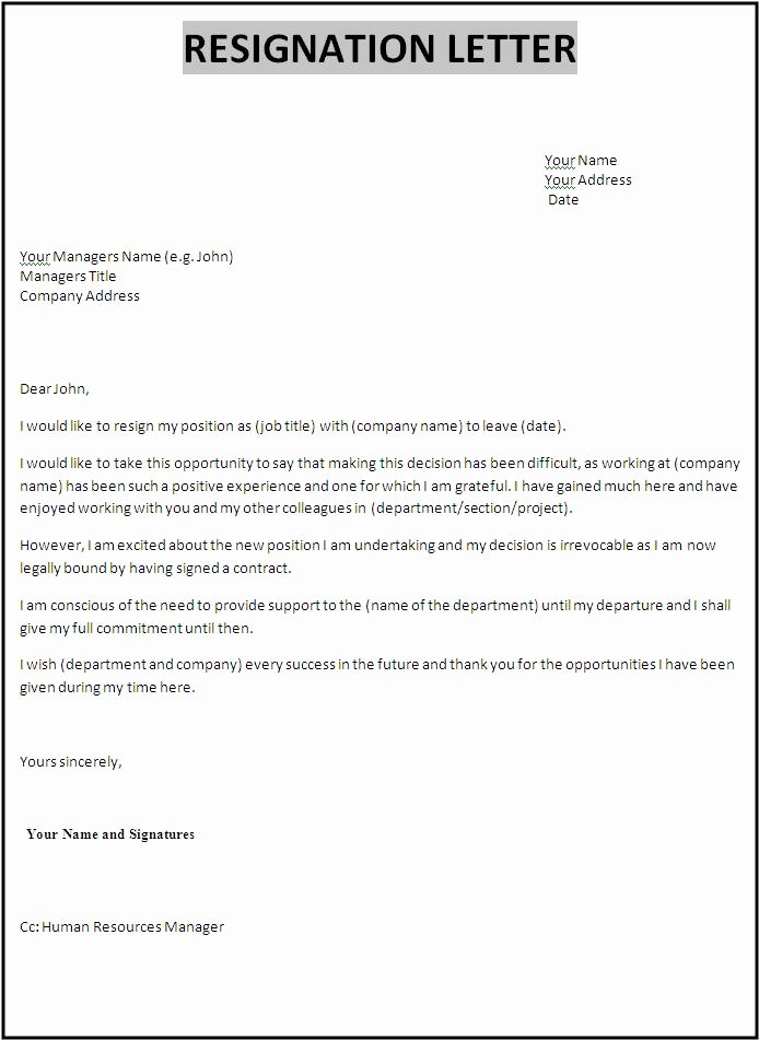 Resignation Letter Template Free Fresh 10 Resignation Letter Samples