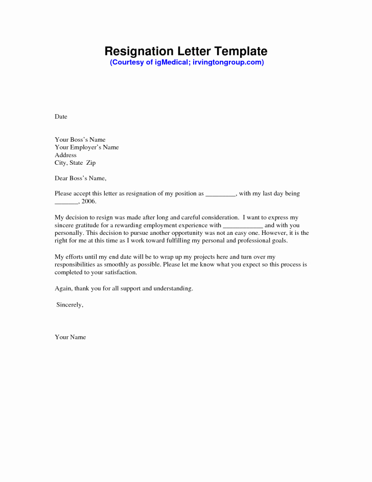 Resignation Letter Template Free Fresh Awesome Free Sample Resignation Letter Free Word