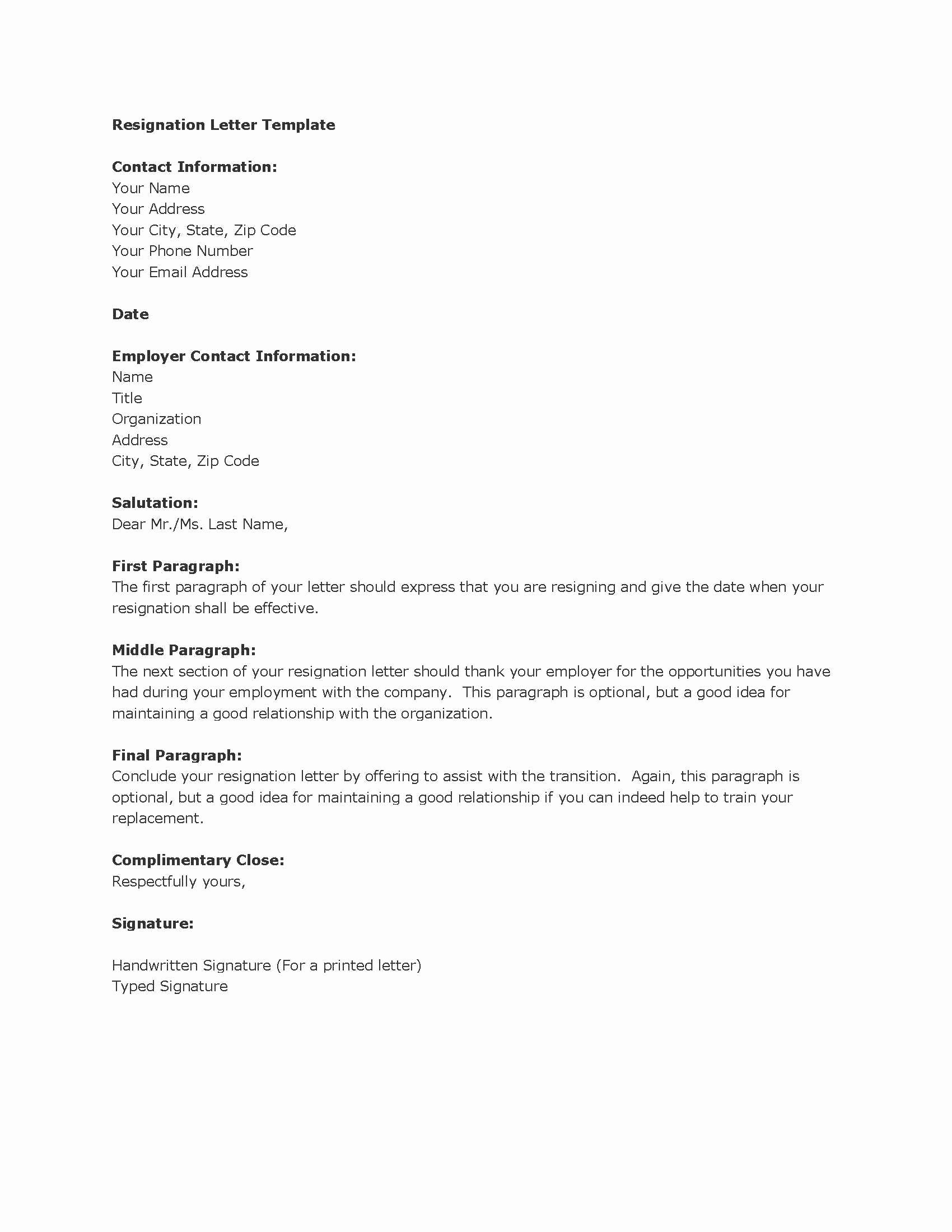 Resignation Letter Template Free Fresh Resignation Letters Download Pdf Doc format