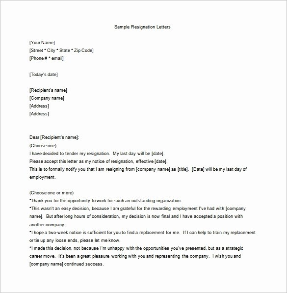 Resignation Letter Template Free Lovely Employee Resignation Letter