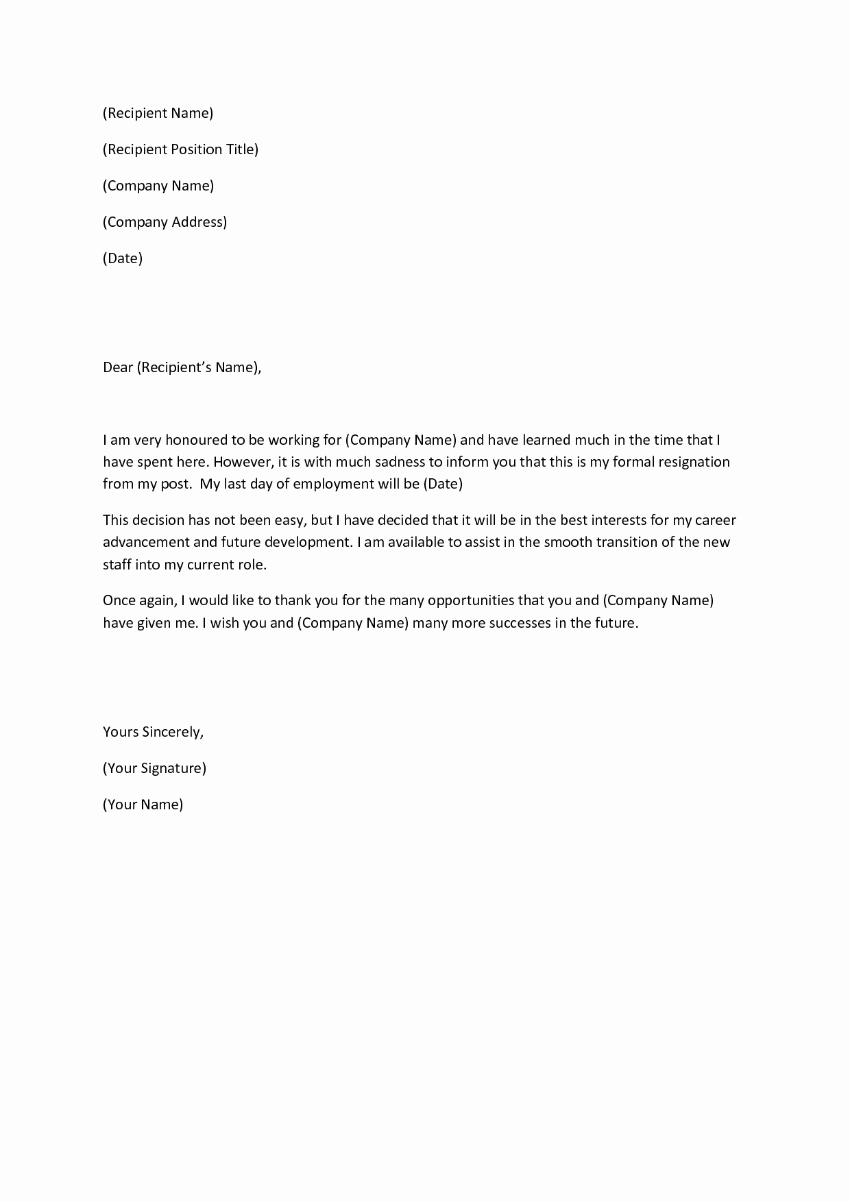 Resignation Letter Template Free Luxury Resignation Letter Short Template Samplebusinessresume