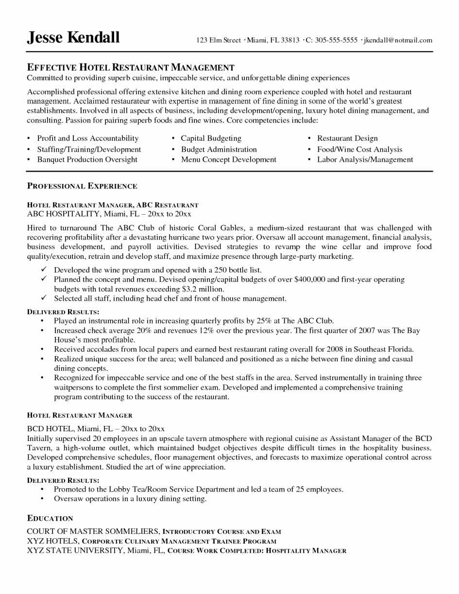 Restaurant General Manager Resumes Awesome 14 Sample Restaurant Manager Resume Samplebusinessresume