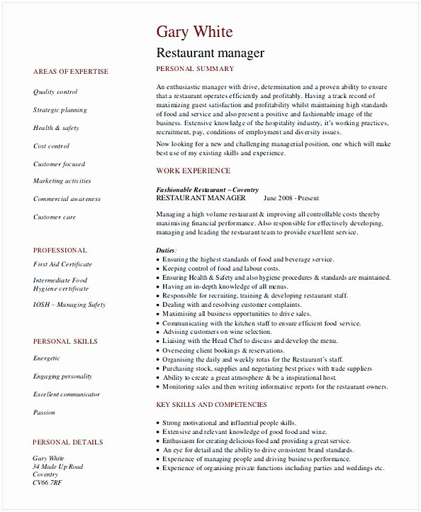 Restaurant General Manager Resumes Awesome Restaurant Manager Resume Template
