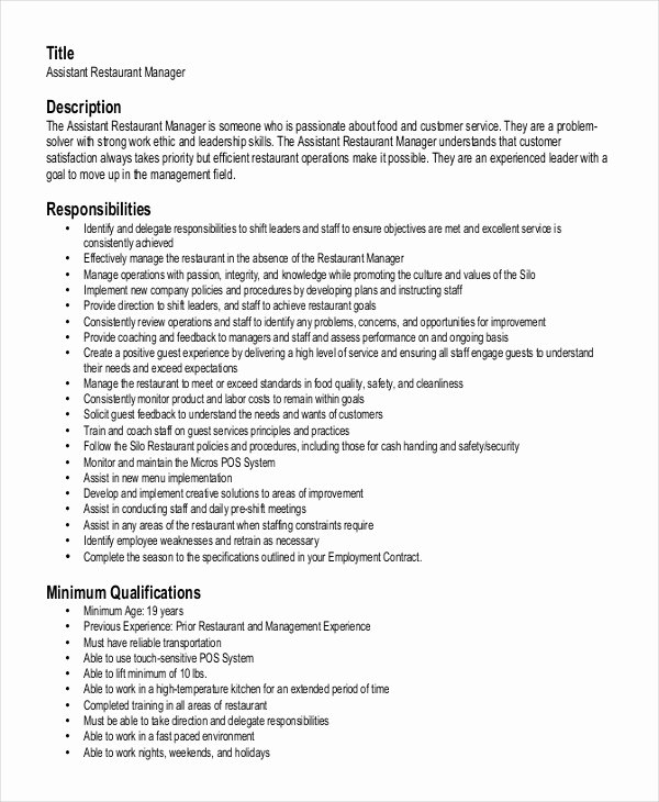 Restaurant General Manager Resumes Beautiful Restaurant Manager Resume Template 6 Free Word Pdf