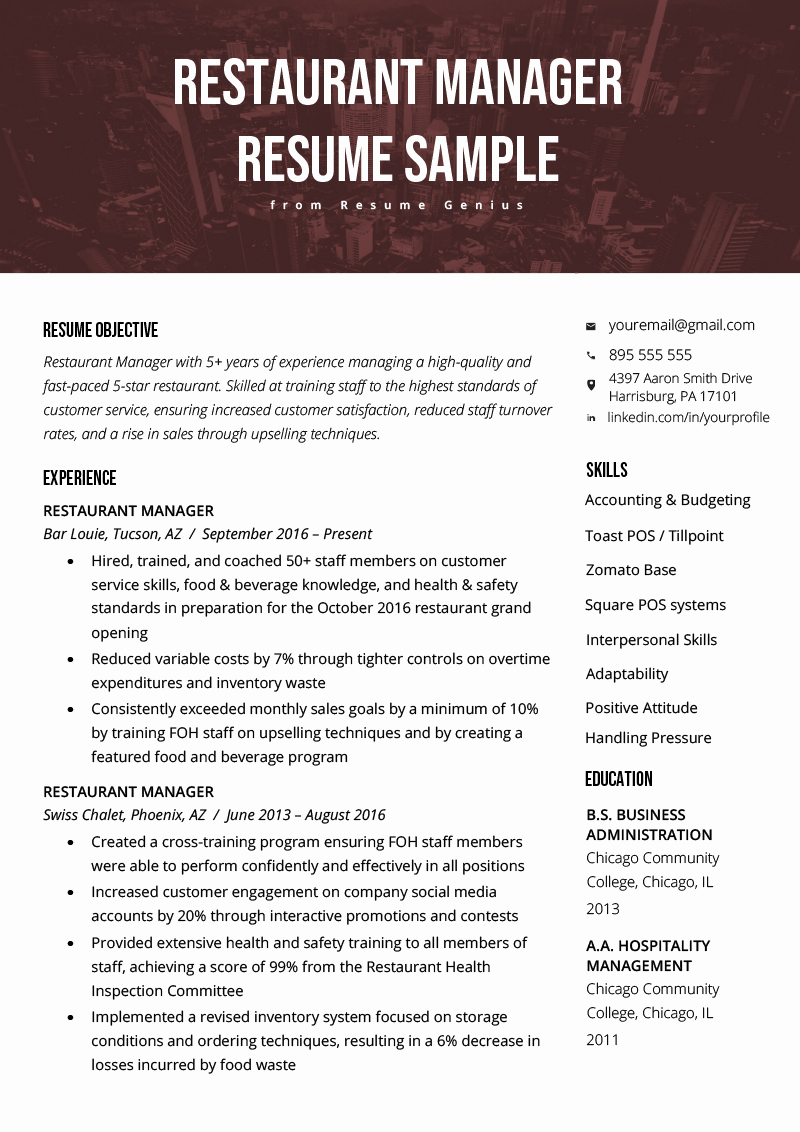 Restaurant General Manager Resumes Elegant Restaurant Manager Resume Sample & Tips