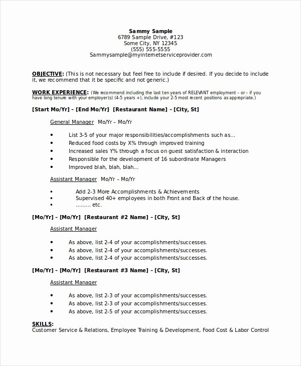 Restaurant General Manager Resumes Elegant Restaurant Manager Resume Template 6 Free Word Pdf