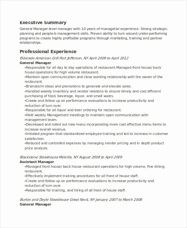 Restaurant General Manager Resumes Lovely 22 Manager Resume Templates Pdf Doc