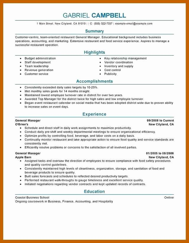 Restaurant General Manager Resumes Lovely 3 4 Restaurant Manager Resume Examples