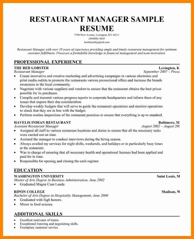 Restaurant General Manager Resumes Lovely 6 Examples Of Restaurant Manager Resumes