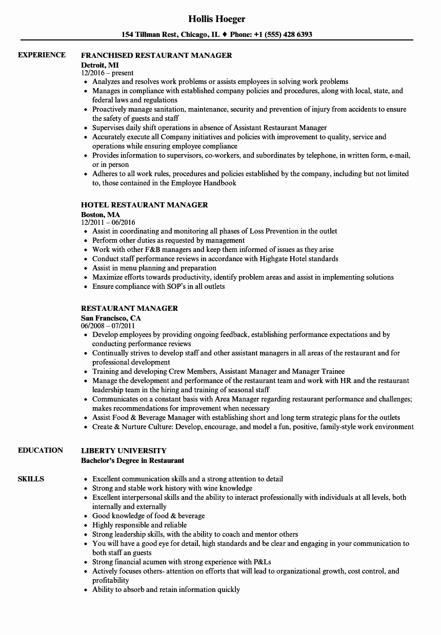 Restaurant General Manager Resumes Lovely Restaurant Manager Resume Samples