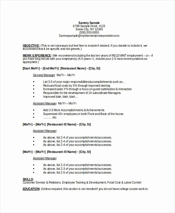 Restaurant General Manager Resumes Luxury 9 Manager Resume Templates Pdf Doc