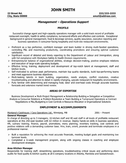 Restaurant General Manager Resumes Luxury A Resume Template for A General Manager You Can