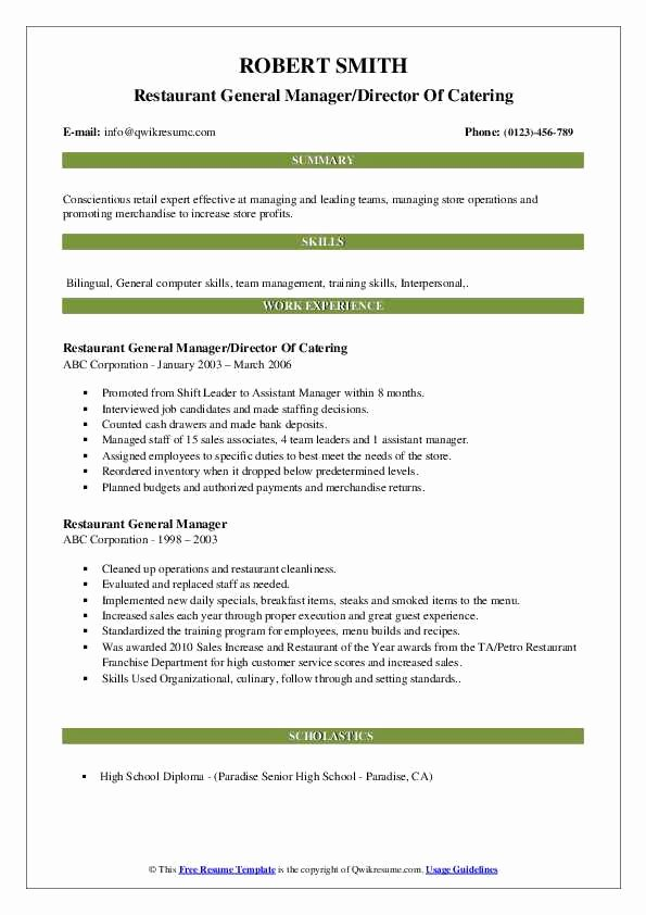Restaurant General Manager Resumes Luxury Restaurant General Manager Resume Samples