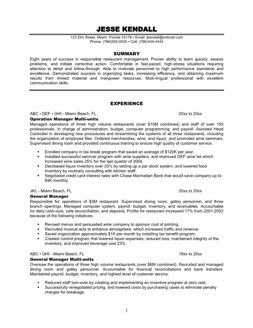 Restaurant General Manager Resumes New 14 Sample Restaurant Manager Resume Samplebusinessresume